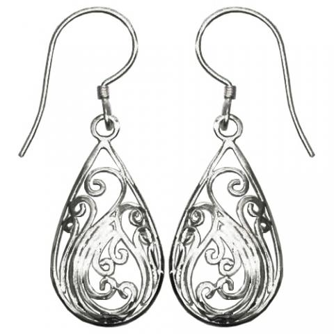 Silver Teardrop With Scroll Work