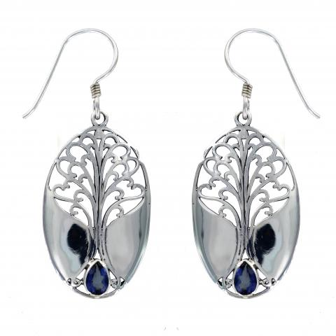 Blue Quartz Grande Tree of Life Earring