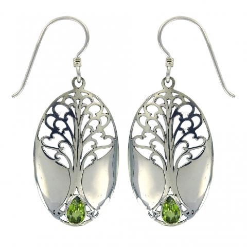 Peridot Grande Tree of Life Earring