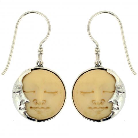 Hand Carved Bone Face Tea-stained Earring