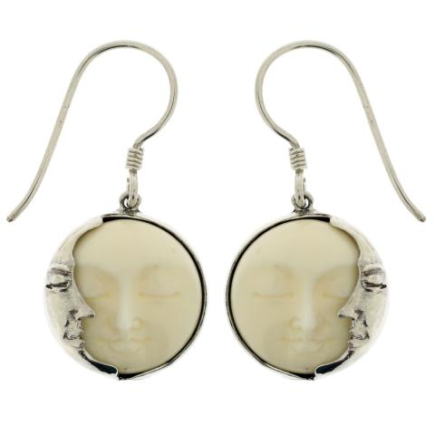 Hand Carved Bone Face Earrings