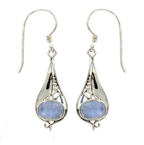 Blue Moonstone Silver Earring