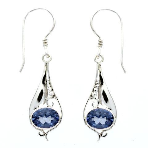 Blue Quartz Silver Earring