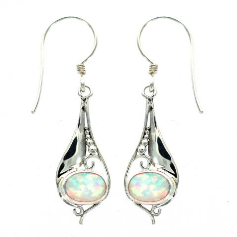 Cultured (synthetic) Opal Stone Earring