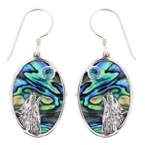 Blue Topaz and Paua Wolf Earrings