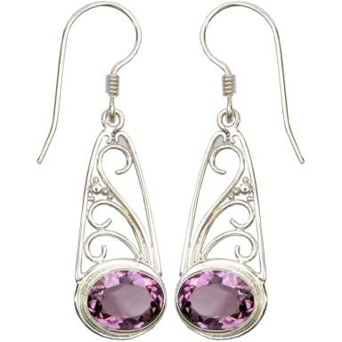 Swirl w/ Granulation Earrings with Amethyst