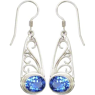 Swirl w/ Granulation Earrings with Blue Topaz