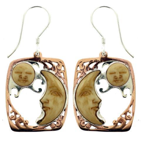Copper  Bone Carved Tan Earring