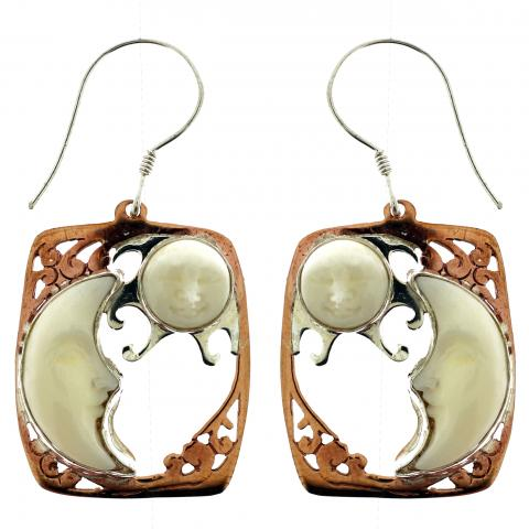 Copper  Bone Carved Face Earring