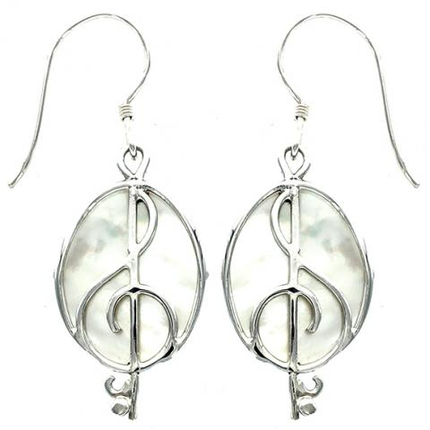 Mother Of Pearl G-Clef Earring