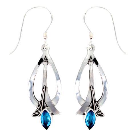 Vera Wolf Swiss Blue Topaz Silver Earring