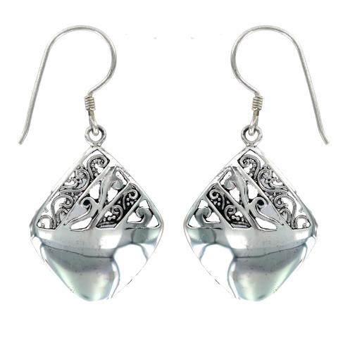 Silver Drop Square Earring