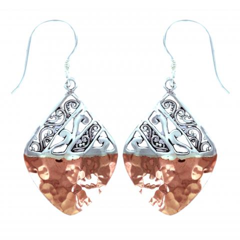 Silver & Hammered Copper Diamond Earring