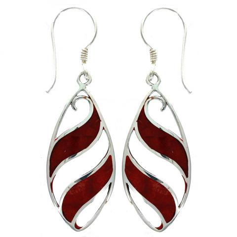 Coral Drop Silver Earring