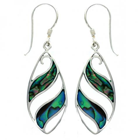 Paua Shell Silver Wave Drop Earring