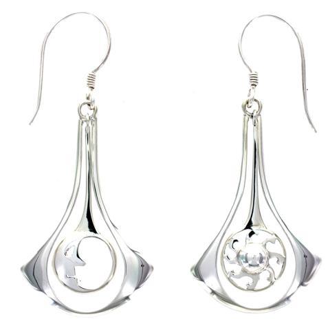 Sun & Moon Silver Earring