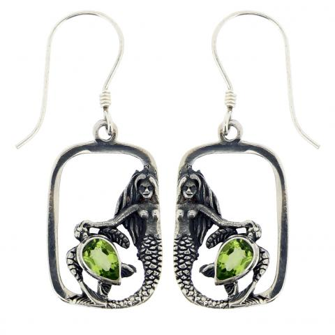 Peridot Quartz Oval Earring