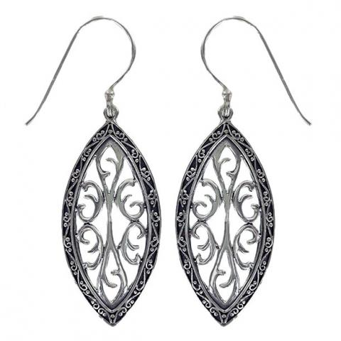 Silver Ornate Marquise Earring