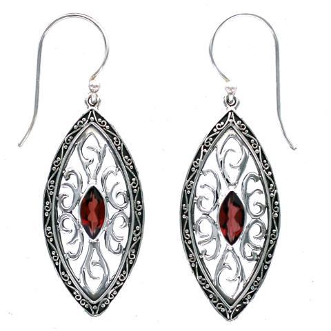 Garnet Ornate Marquise Earring