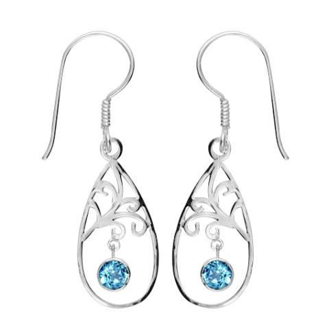 Swiss Blue Topaz Swirl Teardrop Earring