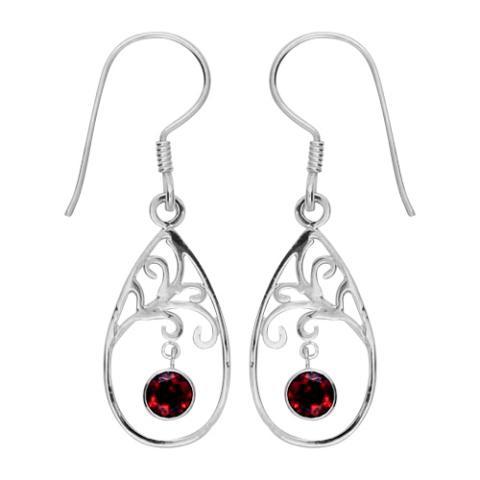 Garnet Swirl Teardrop Earring