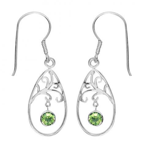 Peridot Swirl Teardrop Earring