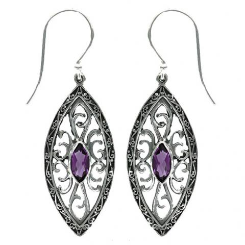 Amethyst Ornate Marquise Earring