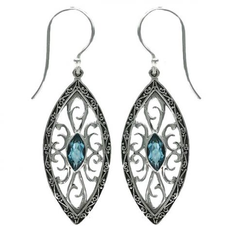 Swiss Blue Quartz Ornate Marquise Earring