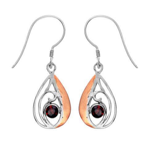 Garnet Silver/copper Teardrop Earring