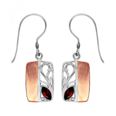 Garnet Silver/copper Rectangular Earring