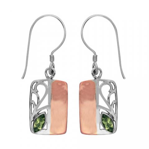 Peridot Silver/copper Rectangular Earring