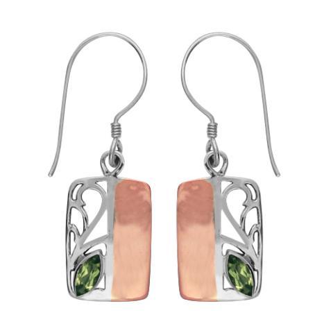 Peridot Silver/copper Rectangular Earring