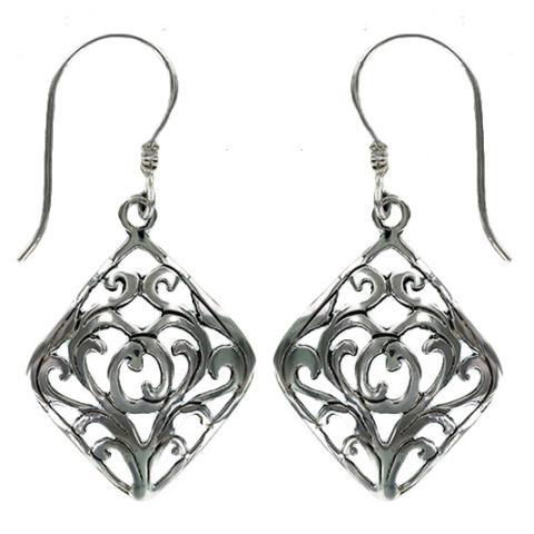Smoky Symmetry Silver Earring