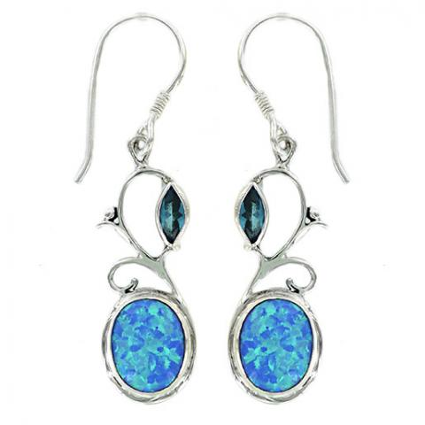 Blue Topaz & Blue Synth. Opal Earring