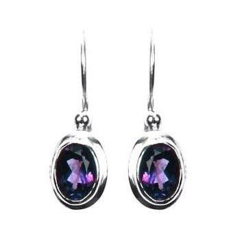 Small Oval Amethyst Dangle Earrings