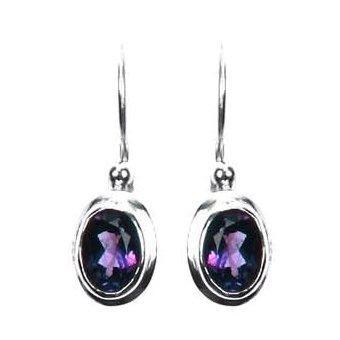 Small Oval Amethyst Dangle Earrings