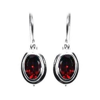 Small Oval Garnet Dangle Earrings