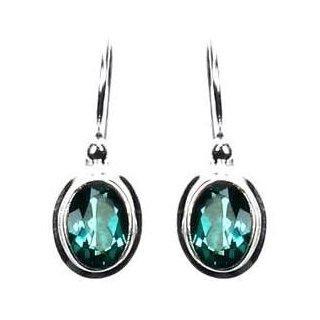 Small Oval Green Quartz Dangle Earrings