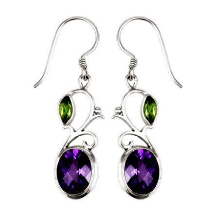Swirl Drop Peridot w/ Amethyst Earrings