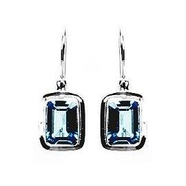 Small Block Swiss Blue Topaz Earrings