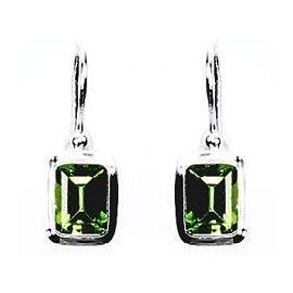 Small Block Peridot Earrings