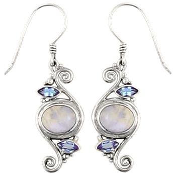 Blue Moonstone Blue Topaz Spiral Earrings