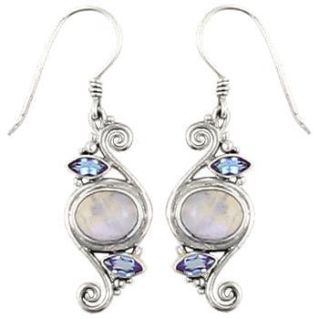 Blue Moonstone Blue Topaz Spiral Earrings