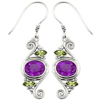 Amethyst Peridot Spiral Earrings