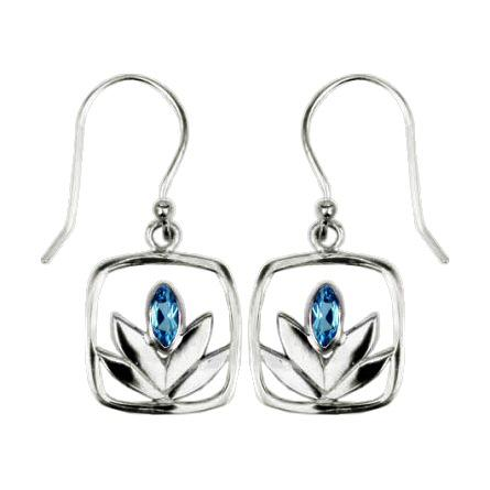 Framed Blue Topaz Lotus Earrings