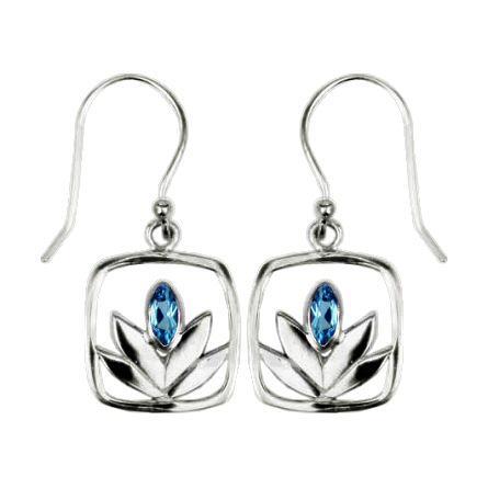 Framed Blue Topaz Lotus Earrings