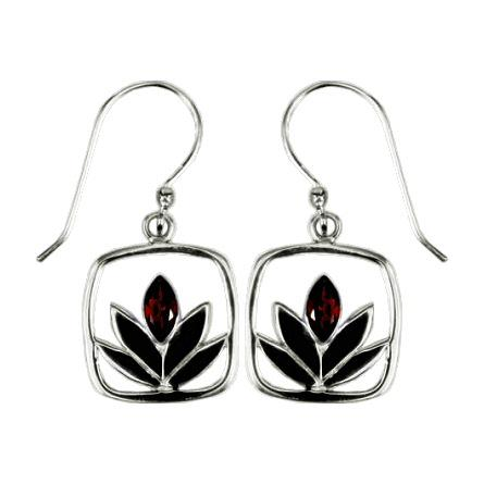 Framed Garnet Lotus Earrings