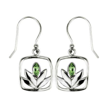 Framed Peridot Lotus Earrings