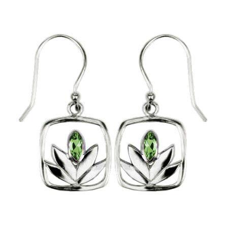 Framed Peridot Lotus Earrings