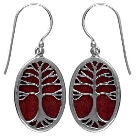 Coral Tree of Life Earring